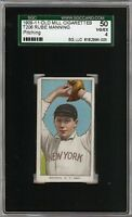 Rare 1909-11 T206 Rube Manning Pitching Old Mill Back NY SGC 50 / 4 VG - EX