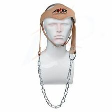 ARD Power Gym Weight LIFTING HEAD NECK Strength HARNESS STRAP Leather Natrural