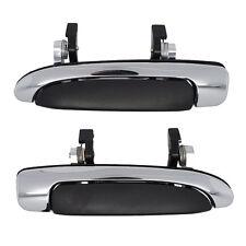 Outside Door Handles Pair - Rear Left Driver + Right Passenger Chrome w/ Black