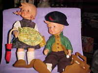 Vintage pair of rubber Hummel Goebel Dolls, WITH ACCESSORIES, CUTEST EVER