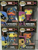 Funko Pop Marvel Black Light Set-Captain America-Iron Man-Thor-Dr Strange TARGET