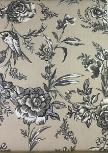 Envogue Tablecloth Floral with Birds Cotton Gray 70 Round