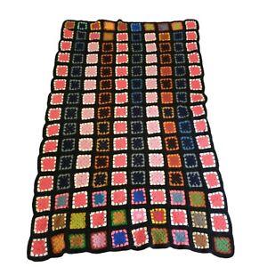 "Vintage Granny Square  Black Afghan Crochet Blanket Rosanne 57"" x76"" Crocheted"