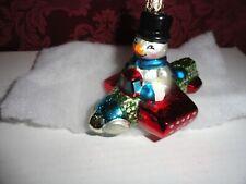 "Christopher Radko Frosty Flyer Plane Snowman Christmas Ornament ~ 4"""