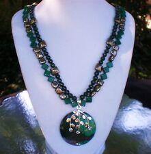 "20"" Malachite Pyrite 2 strand Necklace Sterling Silver Malachite Pyrite Pendant"