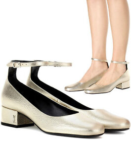 Ysl Saint Laurent Pump Tango Babies Ankle Strap Shoe Logo Low Heel Metallic 37