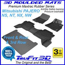 For Mitsubishi Pajero 2006 - 2019 NS-NX 3D Maxtrac Black Rubber Floor Mats 3Row