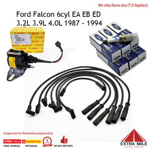 Bosch Ignition Coil Plugs Leads Kit for Ford Falcon 6cyl EA EB ED 3.2L 3.9L 4.0L