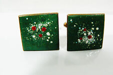 VINTAGE COPPER METAL GREEN RED WHITE ENAMEL HAND CRAFTED CUFF LINKS