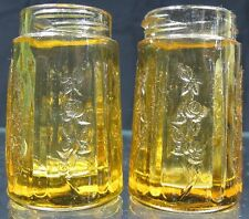 Vintage 1930's Depression Glass Sharon Cabbage Rose Amber Salt & Pepper Shakers
