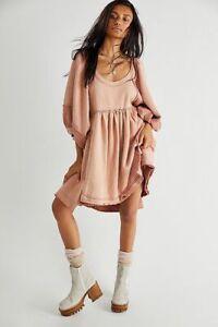 NEW FREE PEOPLE SUNCHILD SWEATSHIRT DRESS TUNIC PULLOVER XS 2 6 WOMEN PINK BLUSH