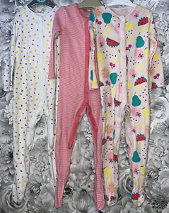 Girls Age 2-3 Years - X3 Sleepsuits With Feet
