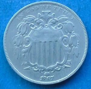 1867 Shield Nickel, About Uncirculated