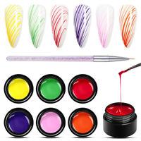 MEET ACROSS 7Pcs/Set 5ML Liner Drawing UV Gel Nail Polish Soak Off Painting Gel