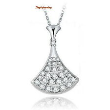 White Gold Filled Micro Setting Clear AAA Cubic Zirconia Fan Shaped Necklace N79