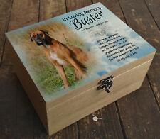 Wooden Pet Urn Dog Box Cremation Ashes Casket and headstone tile Boxer dog