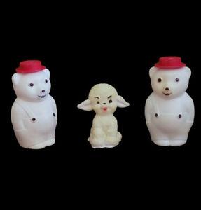 Vintage Rubber/Plastic Squeeze It Brand Bears Bear & Rubber Lamb Squeaker D8