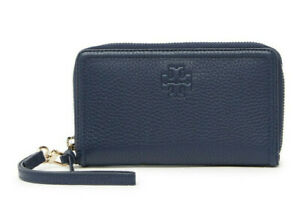 Tory Burch Thea Zip around Smartphone Wallet Leather Wristlet ~NWT~ Navy