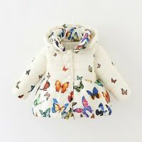 Toddler Baby Butterfly Coat Kids Winter Warm Cotton Jacket Girls Outerwear 0-24M
