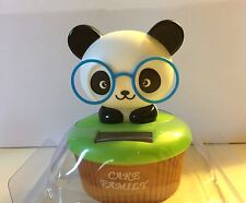 Solar Powered Toy Dancing Cute Panda Sitting Cup Cake with Sunglasses