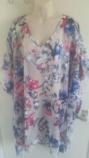 BNWT Janet Reger Damas Color Multi Estampado Floral Caftán (UK 18) RRP £ 45
