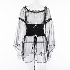 Sexy Women Black Mesh Sheer Maxi Dress Tulle Lace Short Skirt Dress With Belt G#