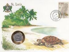 superbe enveloppe ST LUCIA SAINTE LUCIE pièce monnaie coin 2 C 1985 UNC NEW NEUV