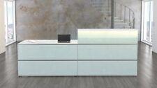 Empfangstheke Focus White 3 Empfangstresen Weiß/Glas Theke Bürotheke Büromöbel
