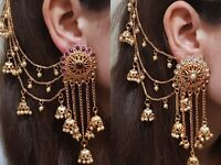 Indian Earrings Bridal Jewellery Gold Plated Jhumka Jhumki Bahubali Diamante NEW