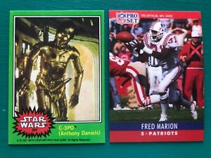 "1977 Star Wars C-3PO ""Golden Rod"" & 1990 Pro Set Fred Marion Error REPRINT Cards"