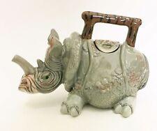 Jameson Blue Sky Gray,Brown Rhino Ceramic Decorative Teapot,Tea,Coffee Pot