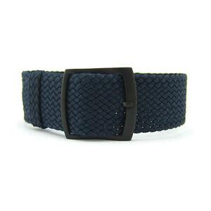 20mm 22mm Premium Navy Blue Braided Nylon Perlon Watch Strap (Black Buckle)
