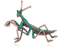 Vintage Ruby Green Crystal Rhinestone Mantis Insect Bug Brass Tone Brooch Pin