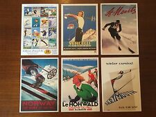 SKI POSTERS TRAVEL THEME VINTAGE SET OF 20 RETRO POSTCARDS -COLLECTORS EDITION