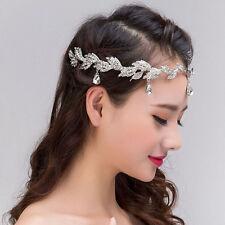 Eleganrt Women Bridal Silver Rhinestone Crystal Branch Leaf Hair Band Headband