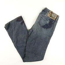 House of Dereon Jeans 32 x32 Bootcut Flare Wool Cashmere Distressed Embroidered