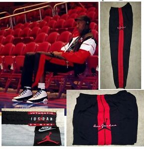 VINTAGE 90's NIKE AIR JORDAN BLACK/ RED BRED JOGGING WINDBREAKER PANTS XL RARE!