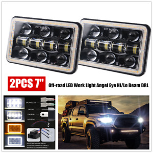 7inch Car Square Headlight Off-road LED Work Light Angel Eye Hi/Lo Beam Fog Lamp