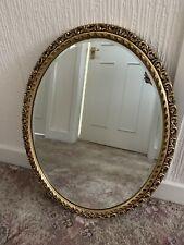 Antique/Vintage 1930's Oval Mirror - Gold Gilt/Bevelled