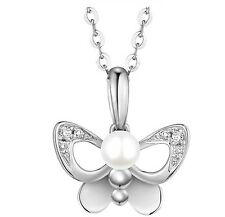 """Sterling Silver Freshwater Pearl Necklace Butterfly Pendant 18"""" Chain Gift PE4"""