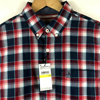 Original Penguin Mens P55 Long Sleeve Plaid Shirt w Stretch Dark Denim / Red $89