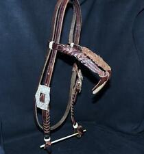 Slit Braided Leather Silver Buckle Western Futurity Knot Browband Headstall