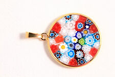 Murano Italy Round Millefiori Art Glass Venetian Pendant .925 Silver Plated Gold