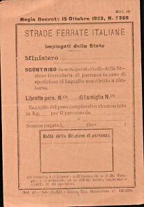 """SCONTRINO """" STRADE FERRATE ITALIANE """" IMPIEGATI DELLO STATO / 1934 F.S. FERROVIE"""
