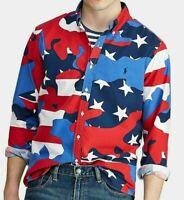NWT $125 Ralph Mens Red Blue Star Americana Classic-Fit Oxford Button down Shirt