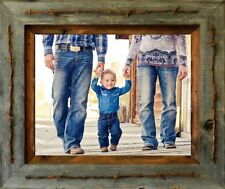 "Reclaimed Barn Wood 11"" x 14"" Texas Vaquero Large Family Picture Frame"