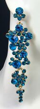 """3 1/4"""" Long Aqua Blue Crystal Earrings Drag Queen, Prom, Evening, Pageant"""