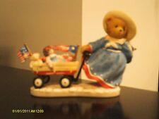 Cherished Teddies.. MARTHA - American girl, radio flyer wagon, flags