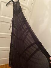 Free People Intimately Mesh Mock Neck Laceup Trapeze Mesh Dress Lace $88 S Black