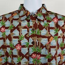 b9e264ea Joe Kealoha Reyn Spooner Mens Palm Tree Guitar S/S Aloha Hawaiian Button  Shirt M